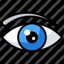 human eye, lens, sight, vision, visual icon