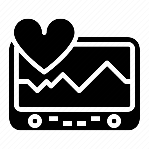 cardiogram, electrocardiogram, graph, hearth, machine, pulse icon