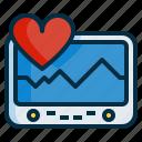 cardiogram, electrocardiogram, graph, hearth, machine, pulse icon