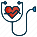 health, healthcare, heart, stethoscope icon