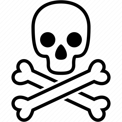 bones, caution, danger, dead, death, halloween, skull icon
