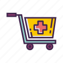cart, medical supplies, supplies, trolley icon