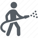 emergency, extinguish, fire, firefighter, people, rescue icon