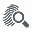 crime, fingerprint, forensic, identity, police, search icon