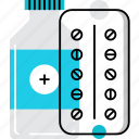 blister, bottle, drugs, medical, medication, pack, pills, syrup icon