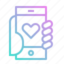 app, heart, love, mobile, phone, smartphone icon