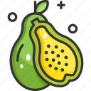 fruit, healthy food, organic, papaya, vegan icon