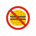 fast, food, forbidden, hamburger, meal, no, stop icon