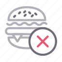 ban, burger, fastfood, notallowed, stop icon