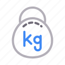fitness, gym, healthy, kg, weight icon