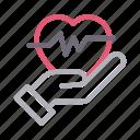 care, health, heart, life, pulses icon