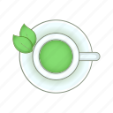 breakfast, cartoon, cup, drink, green, sign, tea icon