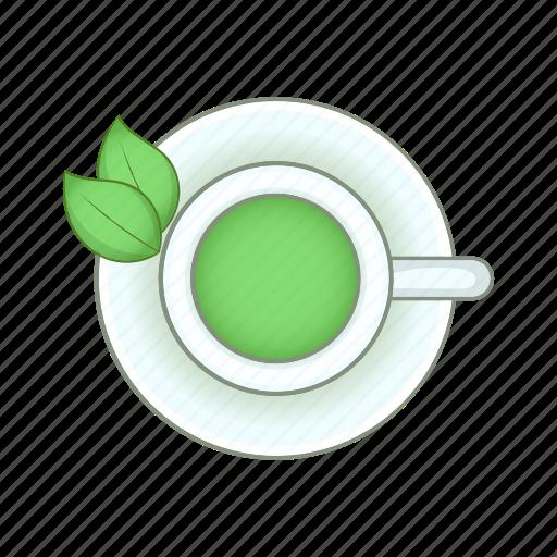 breakfast, cartoon, cup, drink, green, sign, tea icon