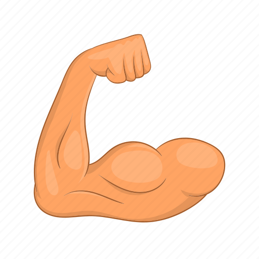 arm, biceps, cartoon, fitness, hands, muscle, sign icon