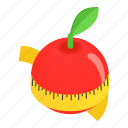 apple, centimeter, dieting, isometric, ripe, slim, tape icon