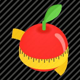 apple, centimeter, dieting, isometric, ripe, slim, tape icon