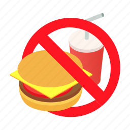 avoid, burger, drink, food, fries, isometric, junkfood icon