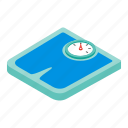 blue, diet, drawn, isometric, machine, scale, weighing icon