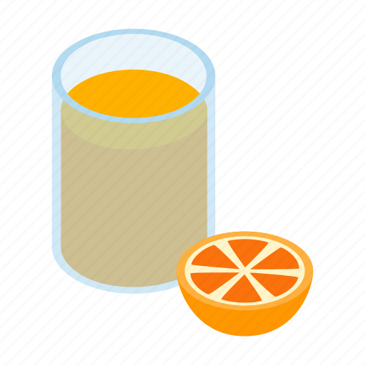 citrus, drink, fresh, glass, isometric, juice, orange icon