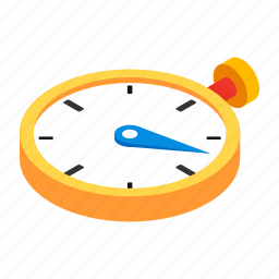 clock, isometric, second, stop, stopwatch, timer, watch icon