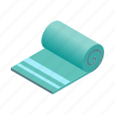 bath, beach, isometric, rectangular, square, textile, towel icon