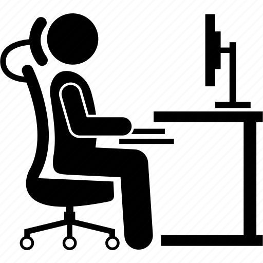 chair, computer, ergonomic, position, seat, sitting, working icon