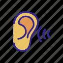aid, ear, hear, hears, outline, sound, tool