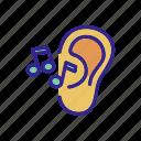 aid, ear, hear, hears, music, outline, sound