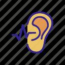 aid, ear, hear, hears, outline, sound, wave