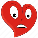 depressed, emoji, heart, love, sad, valentine, valentines icon