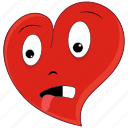 disgust, emoticon, heart, love, tongue, valentine, valentines icon