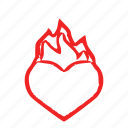 fire, heart, love icon