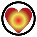 circle, dark love, heart, ligh, love, signboard icon