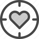 aim, bullseye, goal, heart, love, passion, target icon