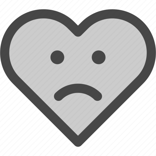emotion, face, frown, heart, love, passion, sad icon