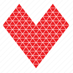 abstract, day, heart, love, romance, triangle, valentines icon