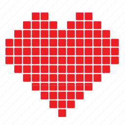 abstract, day, heart, love, pixelate, romance, valentines icon