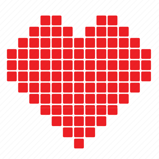 Abstract, day, heart, love, pixelate, romance, valentines icon - Download on Iconfinder