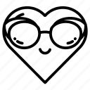 emoji, face, glasses, heart, hearts, love, sunglasses icon