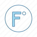 degree, fahrenheit, fahrenheit scale, forecast, temperature, thermometer, weather icon