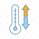 climate control, down arrow, forecast, temperature, thermometer, up arrow, weather icon