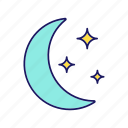 bedtime, moon, moonlight, night, nighttime, sky, star icon