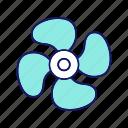 air ventilation, cooler, exhaust fan, fan, propeller, rotation, ventilator icon