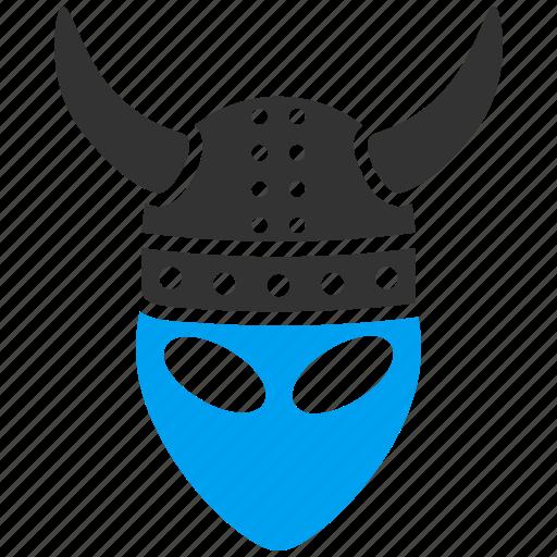 alien, fantasy, funny monster, horned helmet, horns, knight, warrior icon