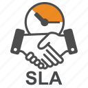 sla, agreement, hand, agree, support, time, helpdesk icon