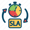 service, level, helpdesk, agreement, sla, time, support icon