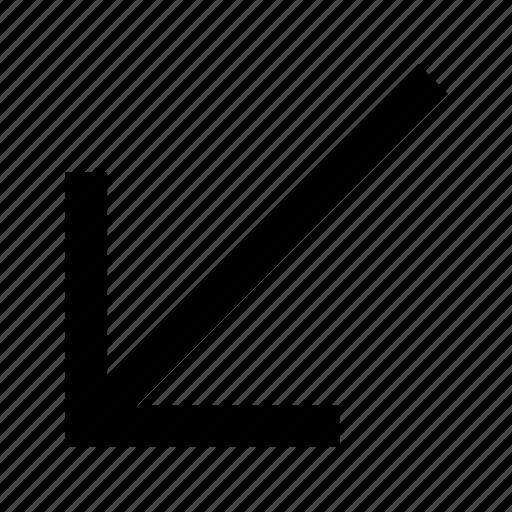 arrow, down, font, helvetica, left, roboto icon