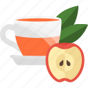 apple, fruits, herbal, tea icon