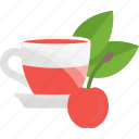 cherry, fruits, herbal, tea icon