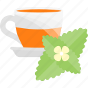 flowers, fruits, herbal, tea icon